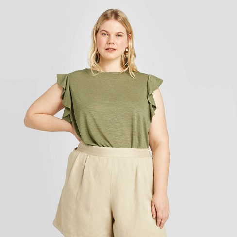 Women's Plus Size Short Sleeve Linen T-Shirt - A New Day™ - image 1 of 3