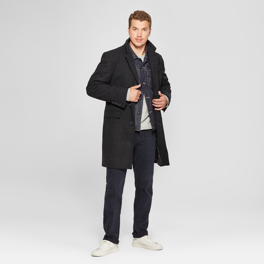 Men's Plaid Wool Overcoat Jacket - Goodfellow & Co S, Black