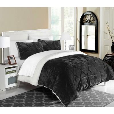 3pc Queen Chiara Comforter Set Black - Chic Home Design