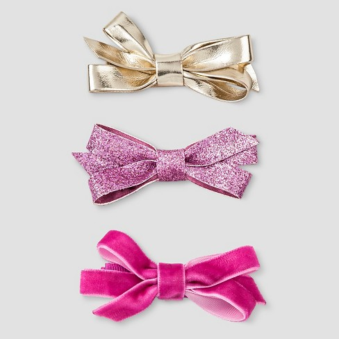 Girls' 3-Piece Bow Clips - Cat & Jack™ Pink/Gold - image 1 of 2