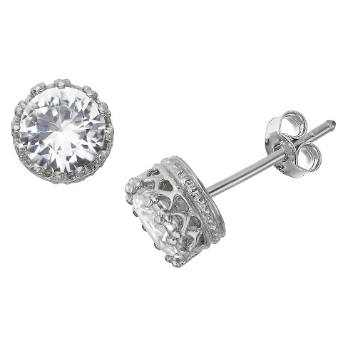 6mm Round-cut White Sapphire Crown Earrings in Sterling Silver - image 1 of 1