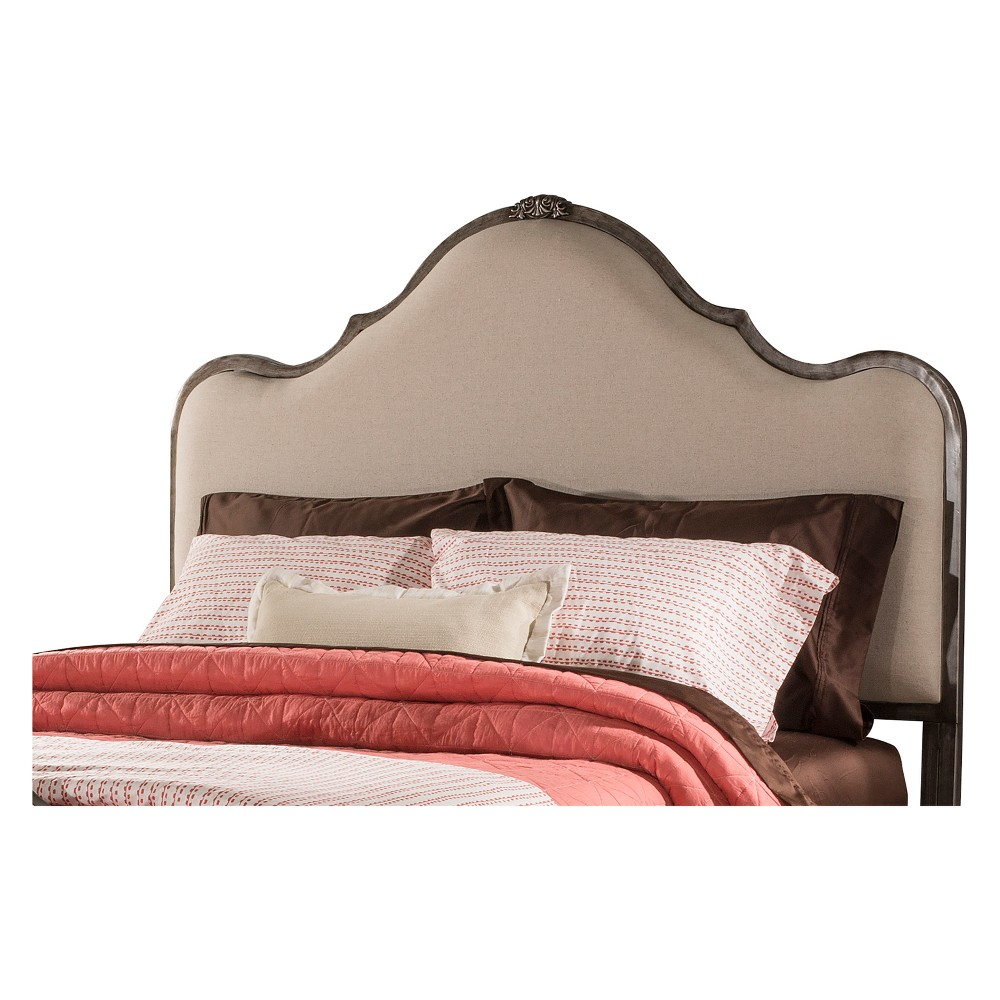 Delray Metal/Upholstered Bed Queen Headboard Frame Not Included Aged Steel/Linen Stone - Hillsdale Furniture, Gray