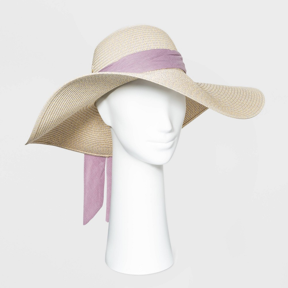 Tea Party Hats – Victorian to 1950s Womens Wide Brim Straw Floppy Hat - A New Day Light Natural $22.00 AT vintagedancer.com