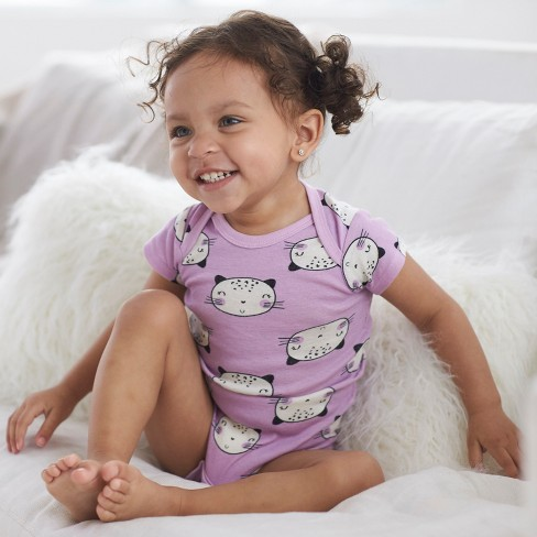d7d8a7707 Gerber Baby Girls' 5pk Short Sleeve Onesies Bodysuit Cat - Purple/Gray