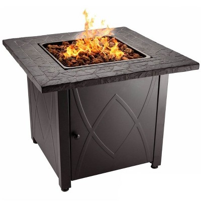 Endless Summer 30,000 BTU LP Gas Outdoor Fire Pit w/Handcrafted Mantel, Black