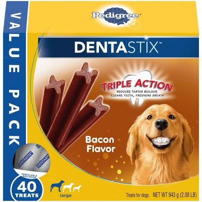 Pedigree Dentasix Bacon Large Dry Dental Dog Treats Value Pack - 40ct