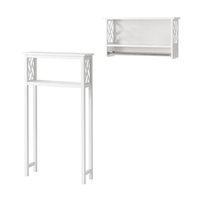 Coventry Over the Toilet Open Storage Shelf with Two Towel Rods White - Alaterre Furniture