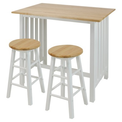 Casual Home 3 Piece Solid Wood Pub Style Breakfast Lunch Cart Island Set, White