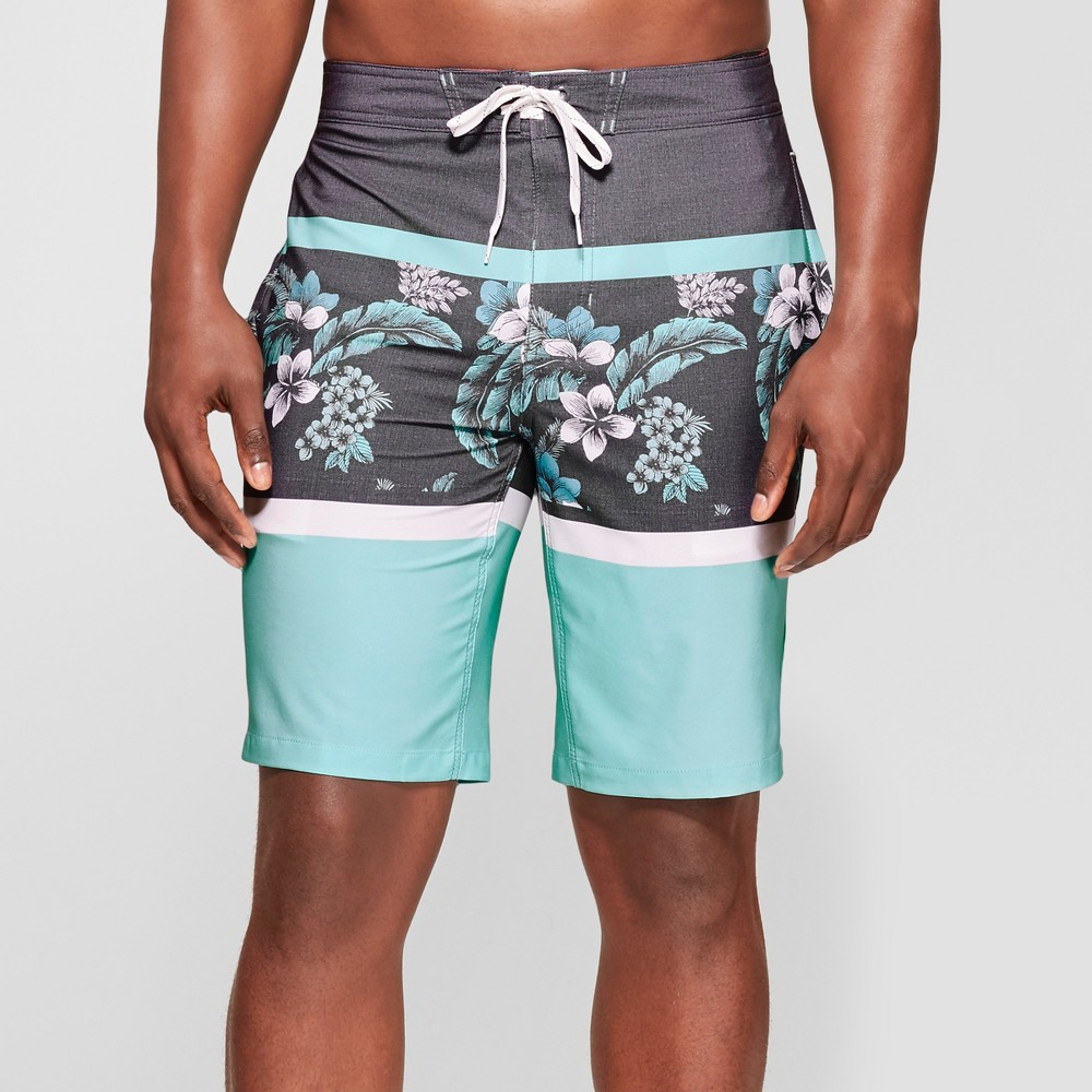 "Image of ""Men's 10"""" Floral Print Board Shorts - Goodfellow & Co Blue 28"""