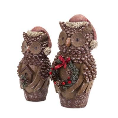 "Melrose Set of 2 Brown Pine Cone Owl Wearing Santa Hat Christmas Figure 14.5"""