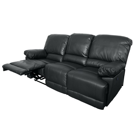 Lea Bonded Leather Reclining Sofa With Usb Port Corliving Target