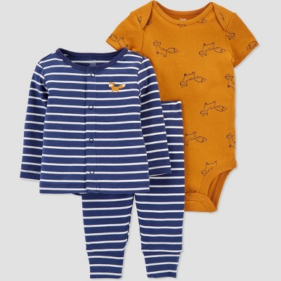 Baby Boys' 3pc Striped Top and Bottom Set with Cardigan - Just One You® made by carter's Gold/Blue 9M