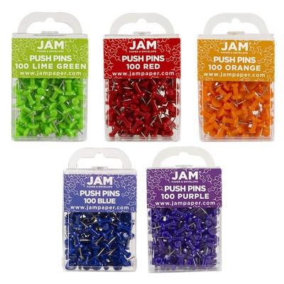 JAM Paper 5pk of 100 Colorful Push Pins