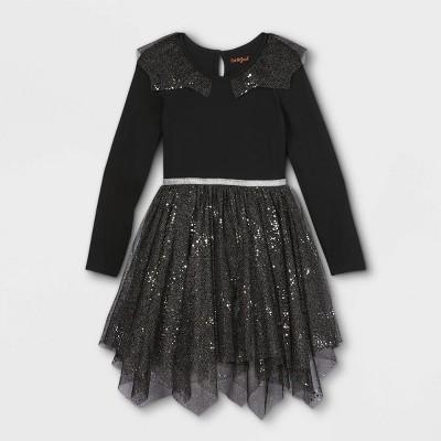 Girls' Knit Long Sleeve Tulle Dress - Cat & Jack™ Black