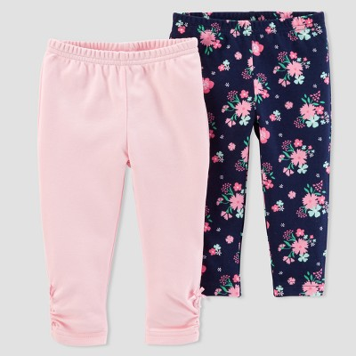 Baby Girls' 2pk Floral/Solid Pants - Just One You® made by carter's Pink/Navy 6M