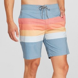 "Men's 8.5"" Striped Bands Board Shorts - Goodfellow & Co™ Cadet Blue"