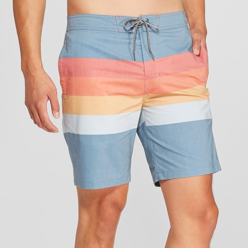"""Men's 8.5"""" Striped Bands Board Shorts - Goodfellow & Co™ Cadet Blue - image 1 of 3"""