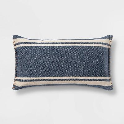 Wool/Cotton Blend Stripe Oversize Lumbar Pillow with Whipstitch Trim Blue - Threshold™