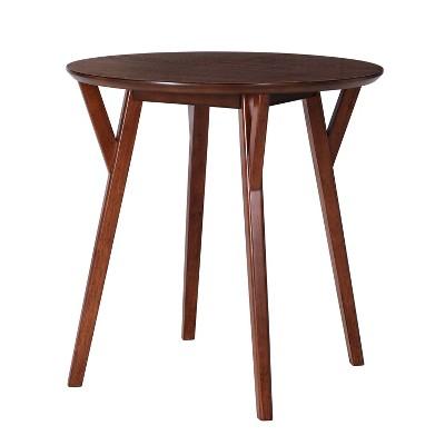 Stanley Round Small Space Dining Table Dark Brown Sienna   Aiden Lane