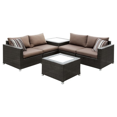 Carla All-Weather Wicker Patio Conversation Set - Brown - Homes: Inside + Out - image 1 of 5