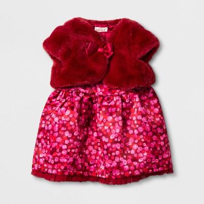 Baby Girls' Sweater and Satin Dress Set - Cat & Jack™ Red Velvet NB