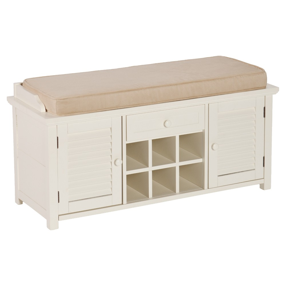 Image of Alana Entryway Bench with Storage - White - Aiden Lane