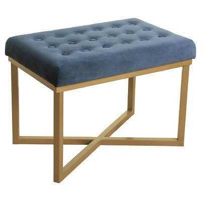 Rectangle Ottoman with Midnight Velvet Tufted Cushion and Gold Metal X Base - HomePop