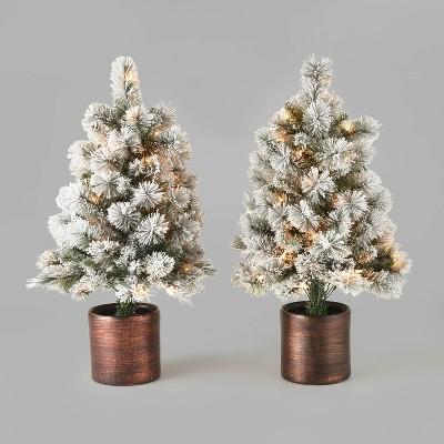 3ft/2pk Pre-Lit Flocked Virginia Pine Potted Artificial Christmas Tree Clear Lights - Wondershop™