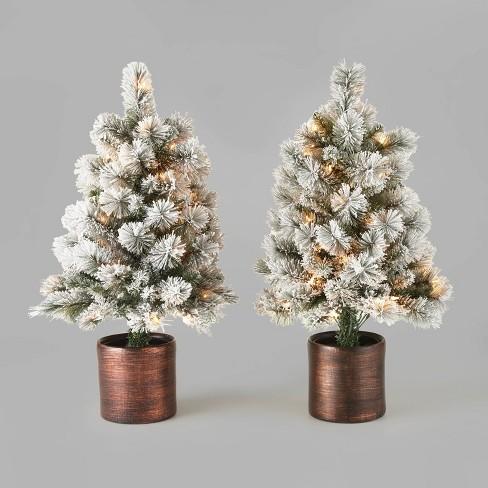 3ft/2pk Pre-Lit Flocked Virginia Pine Potted Artificial Christmas Tree Clear Lights - Wondershop™ - image 1 of 2