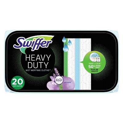 Swiffer Sweeper Heavy Duty Multi-Surface Wet Cloth Refills for Floor Mopping and Cleaning, Lavender scent - 20ct