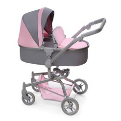 Daydream Multi-Function Single Doll Pram & Stroller - Gray/Pink