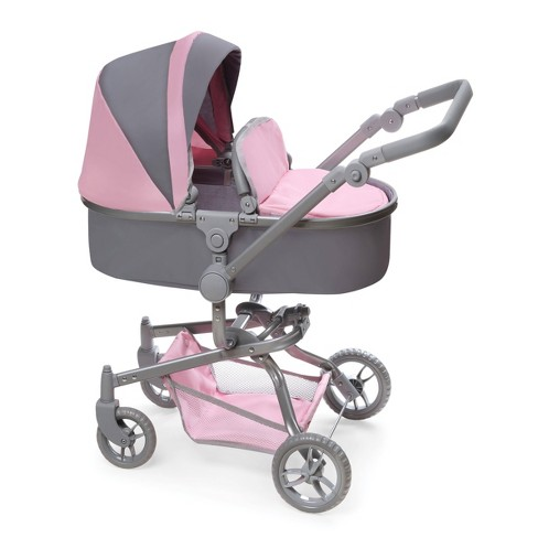 Daydream Multi-Function Single Doll Pram & Stroller - Gray/Pink - image 1 of 4
