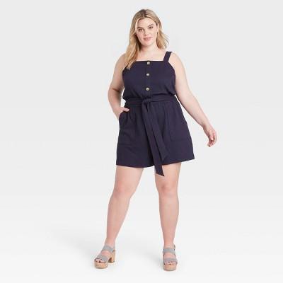 Women's Plus Size Button-Front Tie-Waist Romper - Ava & Viv™