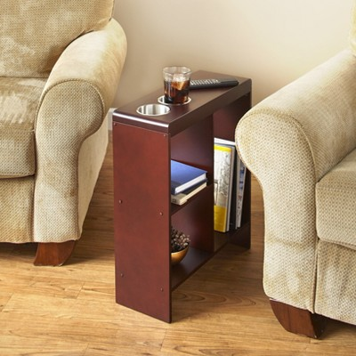 Lakeside Slim End Table with Drink Holders and Built-in Shelving