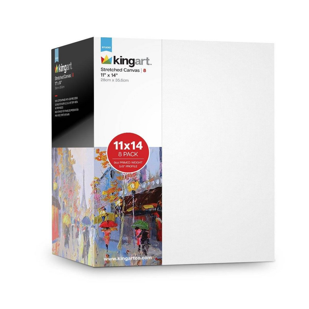 "Image of ""Kingart 11"""" x 14"""" 8ct Stretched Canvas Value Pack, White"""
