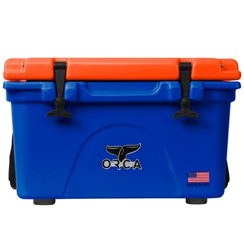 Orca Roto Molded 26 Quart 24 Can Insulated Ice Chest Cooler, Blue and Orange - image 1 of 4