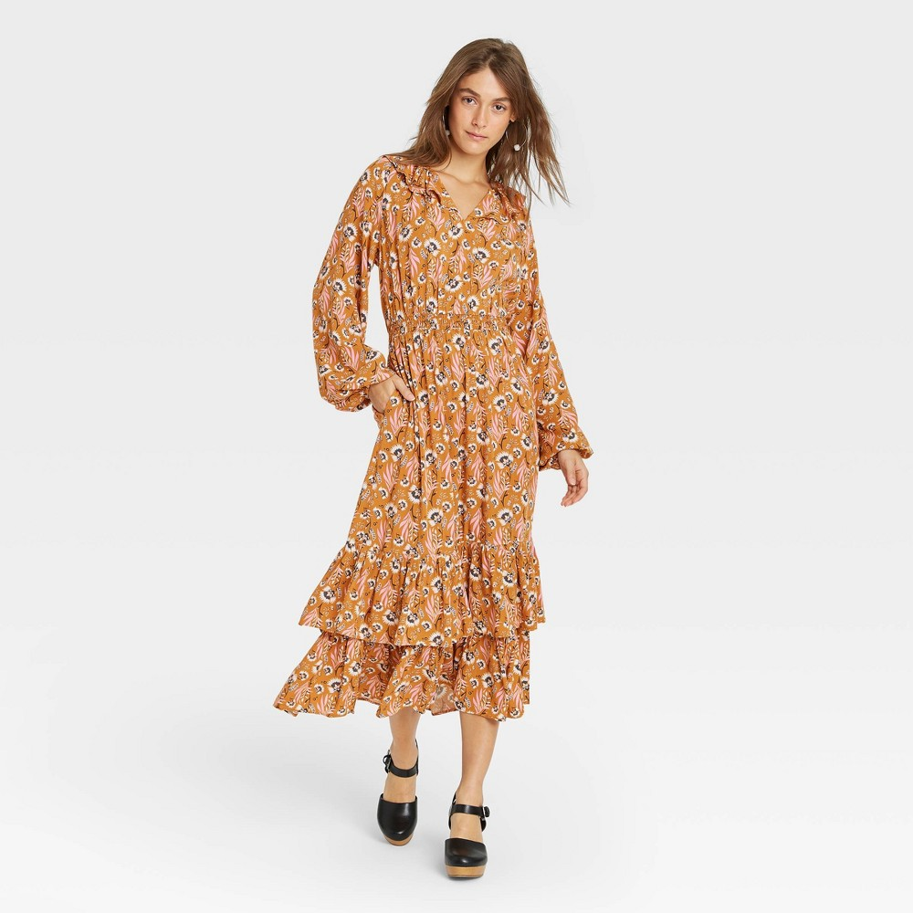 Cottagecore Clothing, Soft Aesthetic Womens Floral Print Balloon Long Sleeve Ruffle Collar Dress - Universal Thread Yellow L $34.99 AT vintagedancer.com