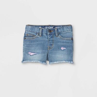 Toddler Girls' Sequin Repair Cut-Off Jean Shorts - Cat & Jack™ Light Blue
