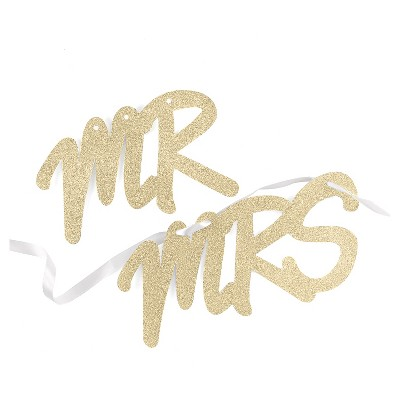 Gold Glitter Mr & Mrs Wedding Chair Backers