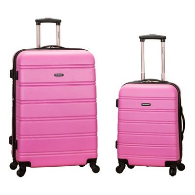 Rockland Melbourne 2pc Expandable ABS Spinner Luggage Set - Pink