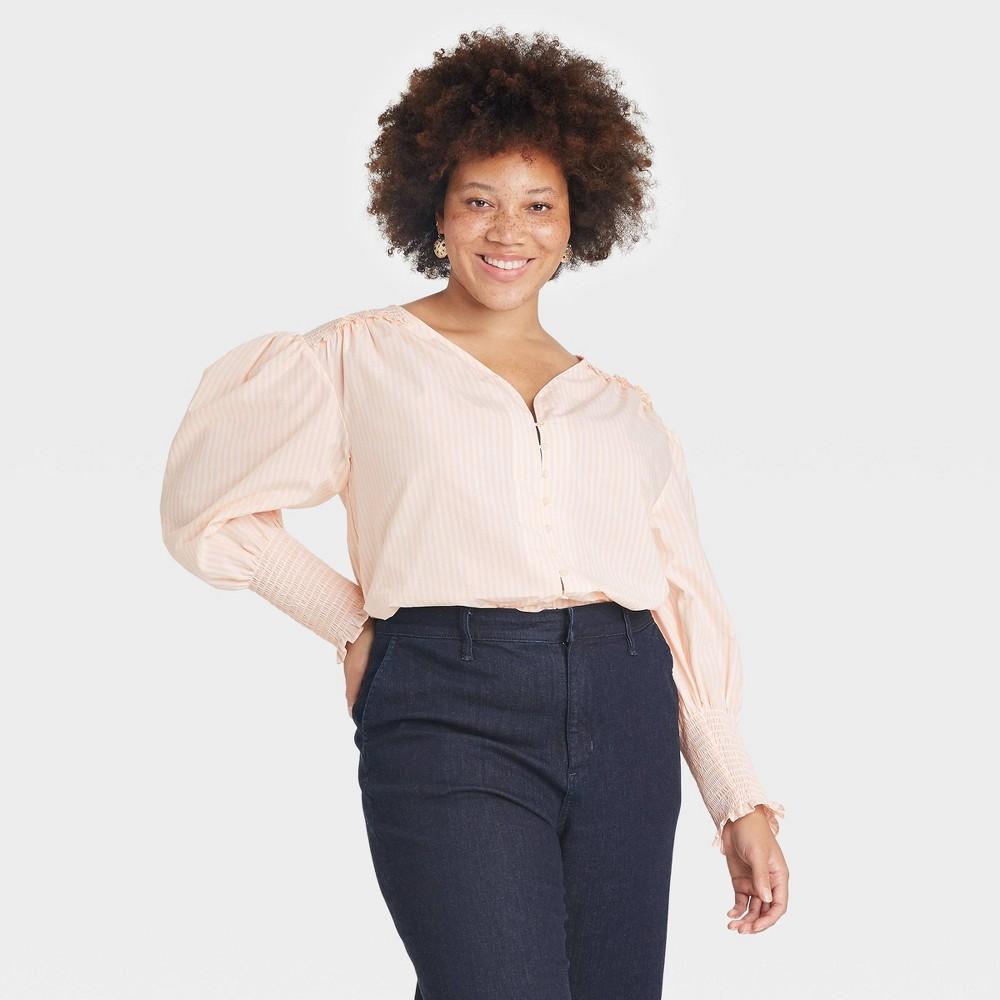 Women 39 S Plus Size Long Sleeve Smocked Poplin Top A New Day 8482 Pastel Peach 2x