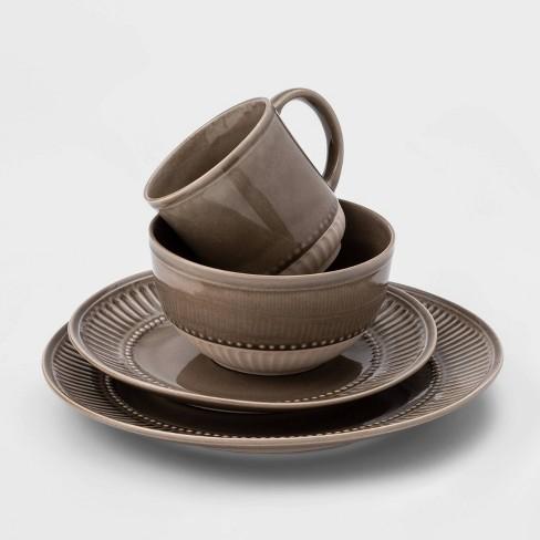 16pc Stoneware Breman Embossed Dinnerware Set Brown - Threshold™ - image 1 of 1