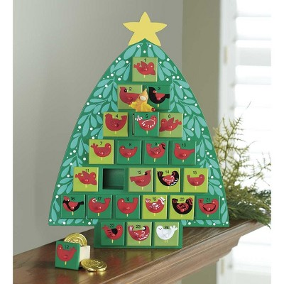 Magic Cabin - Wooden Advent Tree With Painted Birds