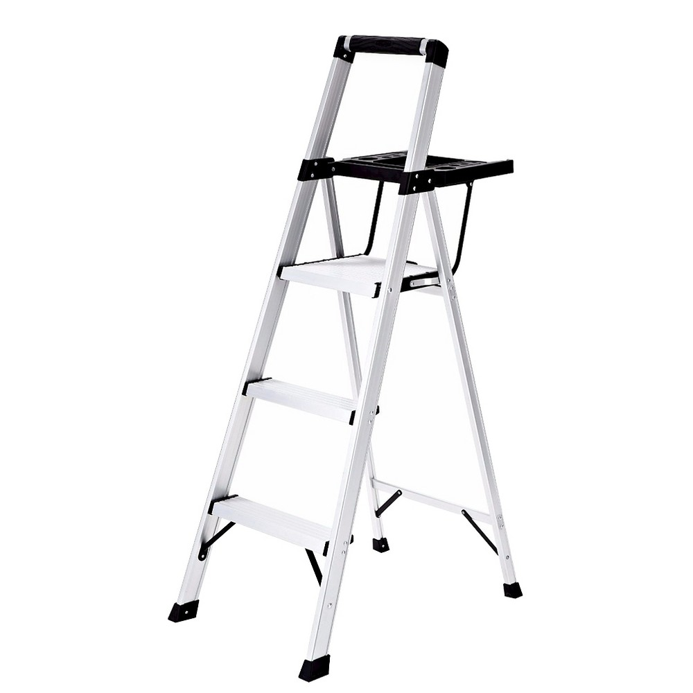 Rubbermaid Lightweight Aluminum Step Stool with Oversized Project Tray, 3-Step, Silver