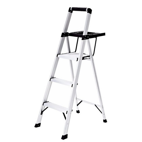 Rubbermaid Lightweight Aluminum Step Stool with Oversized Project Tray, 3-Step - image 1 of 5