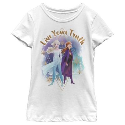 Girl's Frozen 2 Elsa Anna Live Your Truth Geometric Portrait T-Shirt
