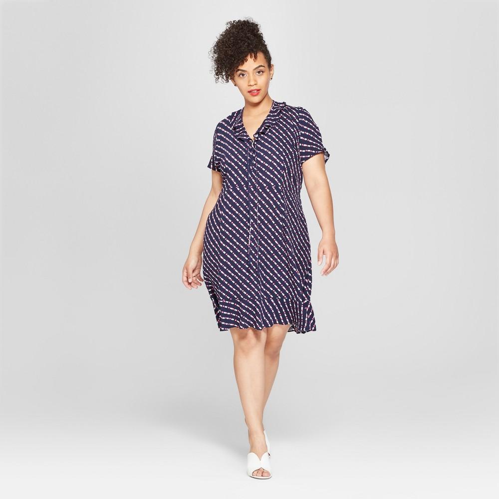 Women S Plus Size Polka Dot Short Puff Sleeve Lace Up Mini Dress Who What Wear 8482 Navy Polka Dot X