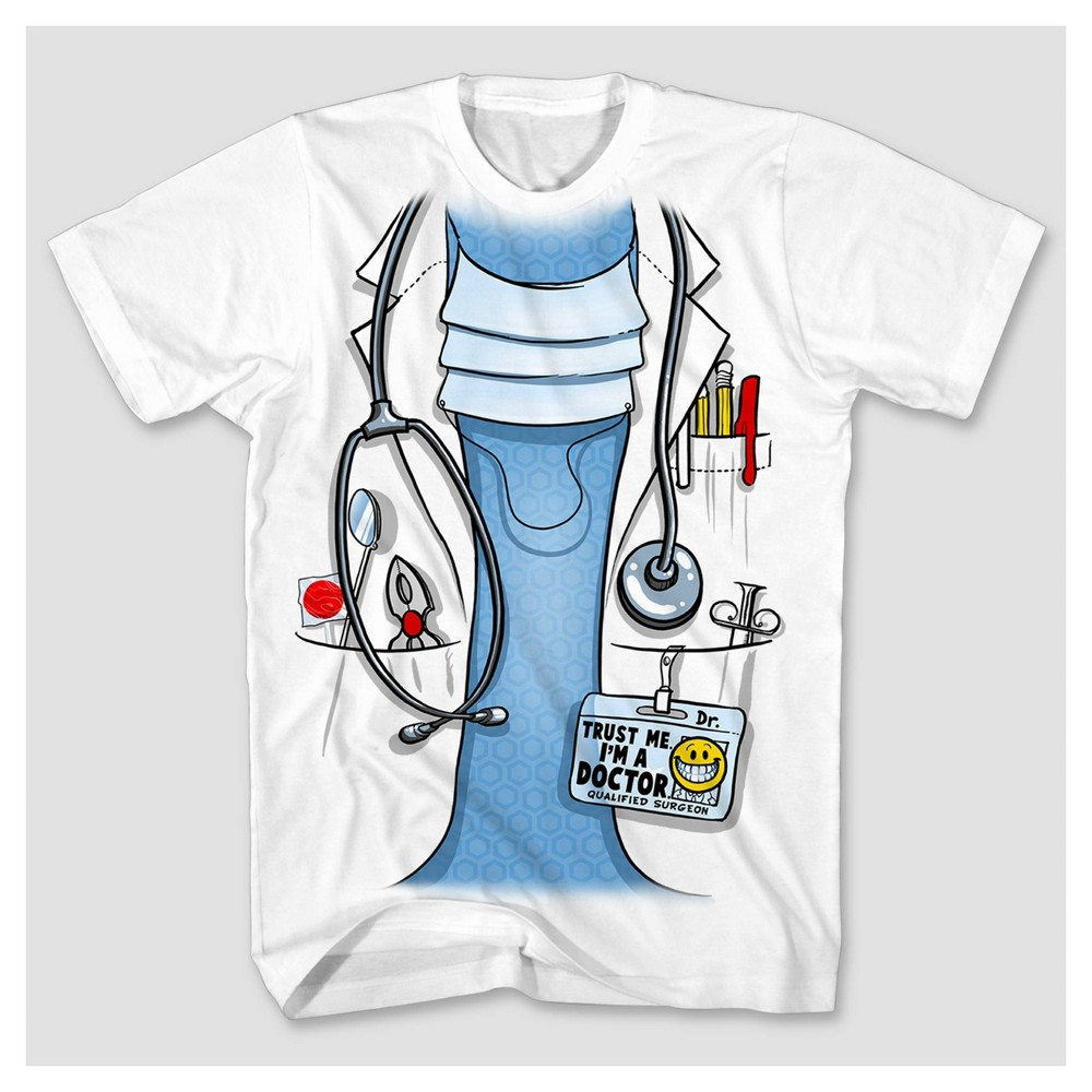 Men S Short Sleeve Doctor Costume Graphic T Shirt White L
