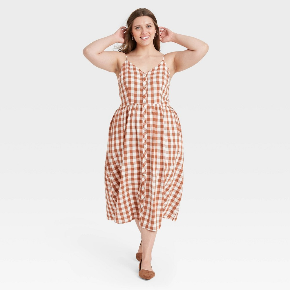Cottagecore Clothing, Soft Aesthetic Womens Plus Size Gingham Sleeveless Button-Front Dress - A New Day Brown 4X $27.99 AT vintagedancer.com