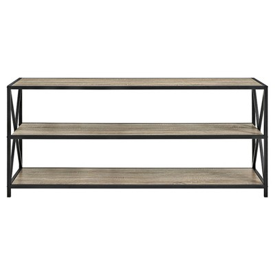 26  X - Frame Metal and Wood Console Table - Driftwood - Saracina Home